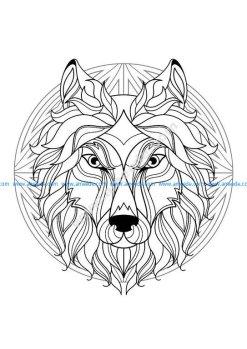 Mandala tete loup 1