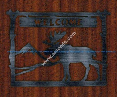 Plate Welcome Deer