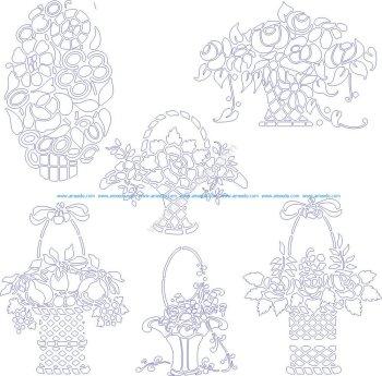 Stencils of flowers in baskets