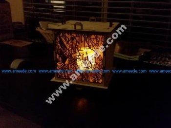 Customizable 6mm laser cut outdoor lantern 8x8 panels