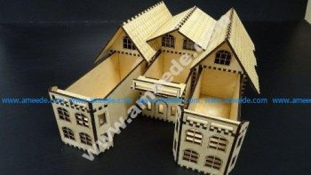 House Box wooden template wooden laser cut