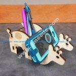 Laser Cut Giraffe Phone & Pen Holder