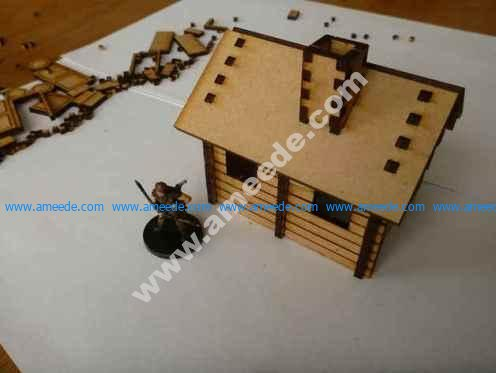 Small lasercut log cabin for 28mm tabletop gaming