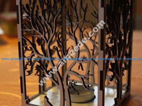 candle holder laser cut Tree & Animals wood present tea candle