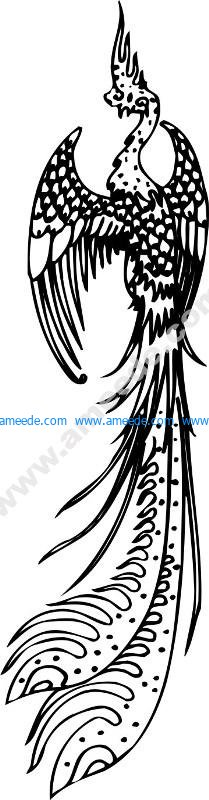 Black and White Flying Phoenix Classical Vector Pattern