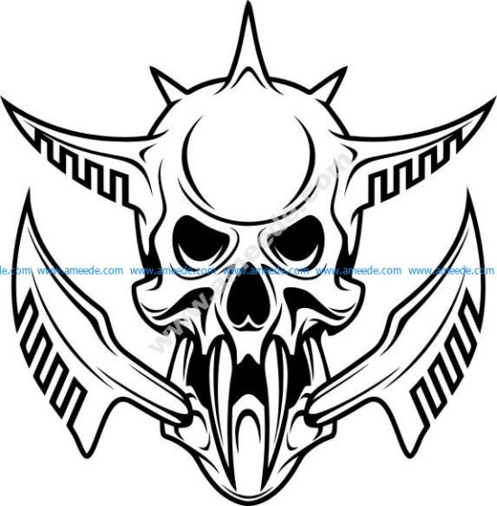 Cyber punk robot skull isolated on white