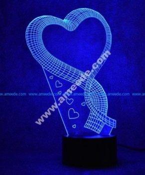 Heart ribbon 3D Illusion Lamp LED Night Lights
