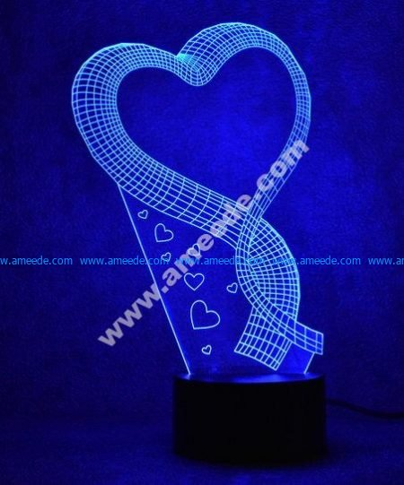 Heart ribbon 3D Illusion Lamp LED Night Lights