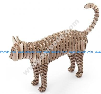 Cat 3D Puzzle Laser Cut CNC Plans