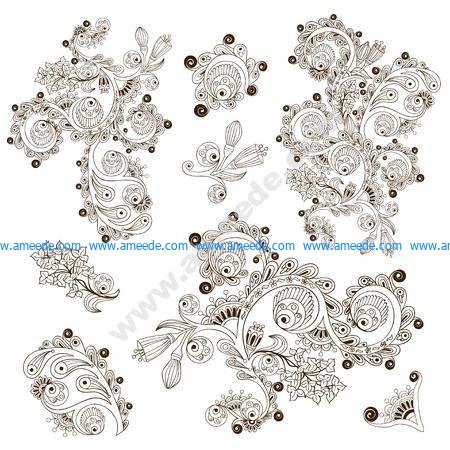 Flower pattern engraving scroll motif for card