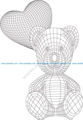 Funny bear with heart baloons 3d illusion lamp