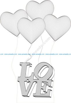 Heart 3d Illusion Lamp Vector