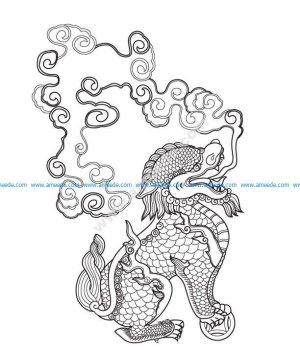 Lion -Vietnamse ancient pattern