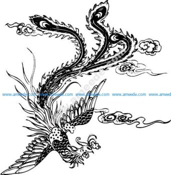 Phoenix Pattern Bird Decorativo Design Vector