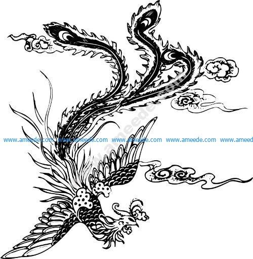 Phoenix Pattern Bird Decorativo Design Vector