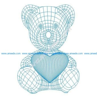 Teddy bear with heart 3d illusion lamp