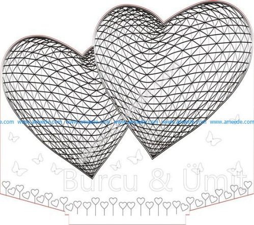 Two hearts 3D Illusion Lamp LED Night Lights