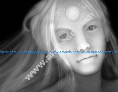 3d Grayscale Girl Relief Picture BMP