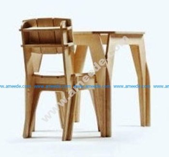 Bar Table Chair Laser Cut CNC