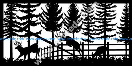 Deer In Garden Plasma Metal Art DXF