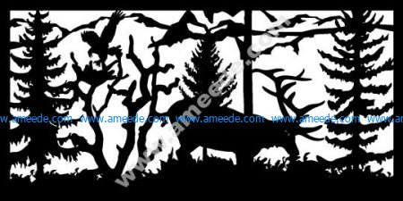 Elk Feeding Eagle Landing Plasma Metal Art DXF