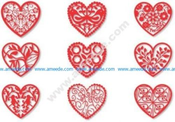 Fretwork Heart Vectors