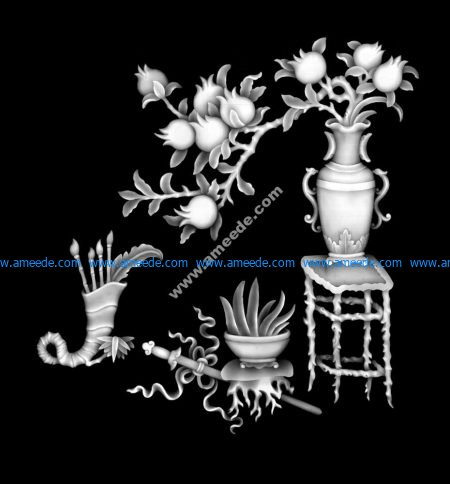 High Quality Vase with Flowers Grayscale for CNC BMP