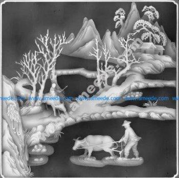 Landscape painting grayscale BMP