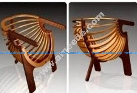 Laser-cut wooden chair model