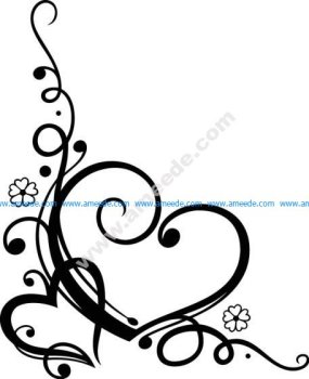 Love Heart Floral Free Vector
