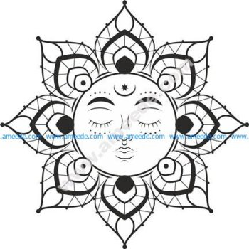 Mandala Sun vector file cdr