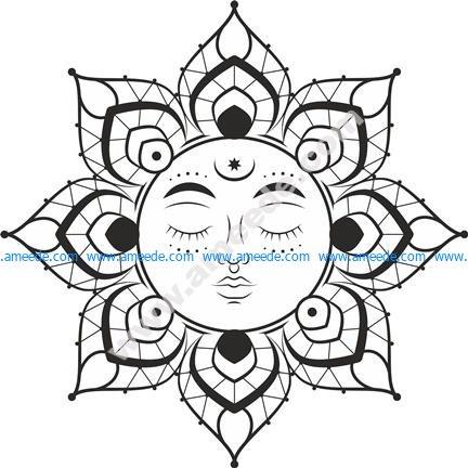 Mandala Sun vector file cdr