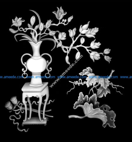 Vase Flowers Grayscale Image BMP