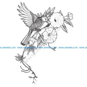 Bird Flowers Decor Vector