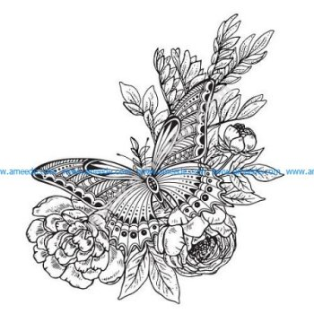Butterfly Flowers Decor Drawing Vector