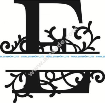 Flourished Split Monogram E Letter