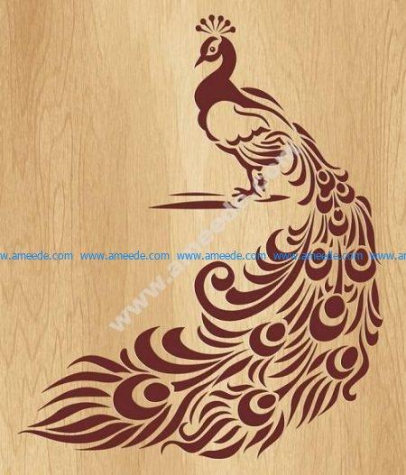 Peafowl carved wood