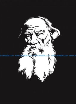 Vectorized engraving of Leo Tolstoy