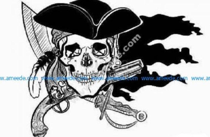 Cowboy skull gun knife