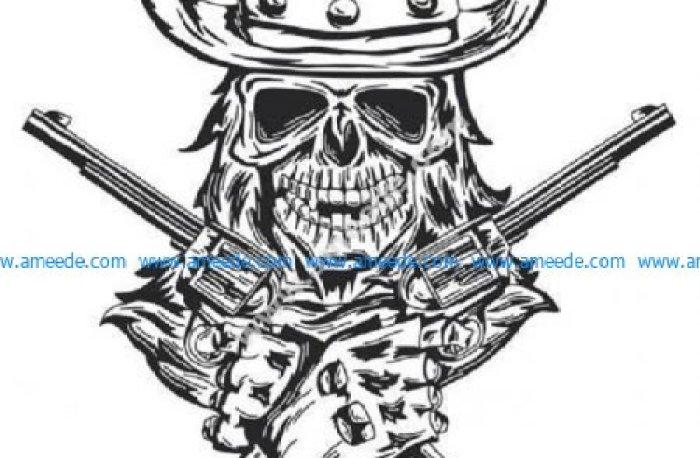 Cowboy skull with gun