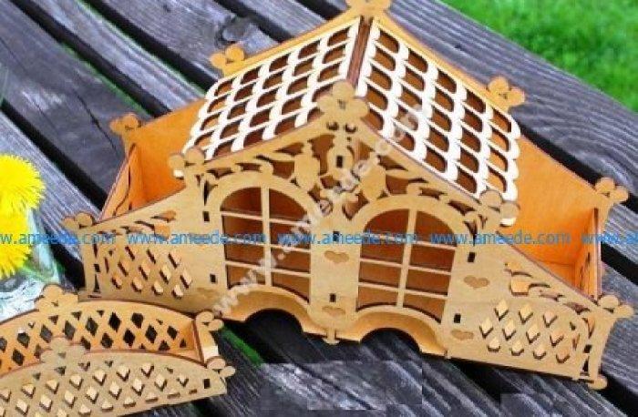 Decorative Tea House Laser Cut