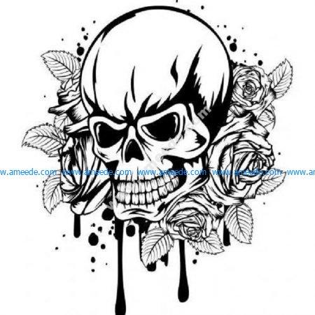 Dripping rose skull
