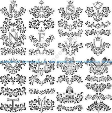 Floral Decorative Letters Vector Art