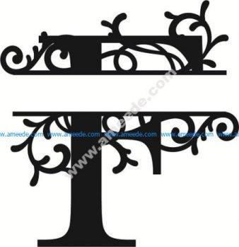 Flourished Split Monogram F Letter