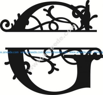 Flourished Split Monogram G Letter