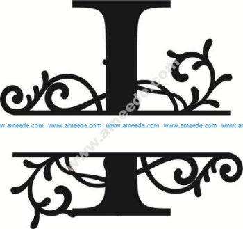 Flourished Split Monogram I Letter