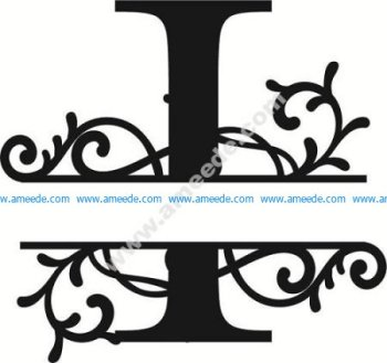 Flourished Split Monogram I Letter