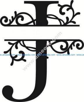 Flourished Split Monogram J Letter