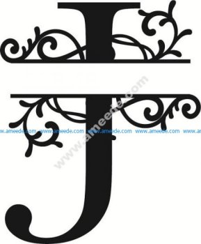 Flourished Split Monogram J Letter