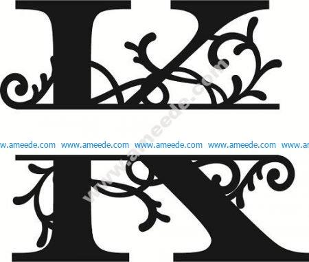Flourished Split Monogram K Letter